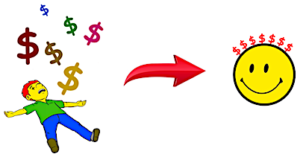 cartoon man flattened by debt turns to smiley face