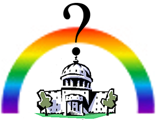 capitol building under rainbow and question mark