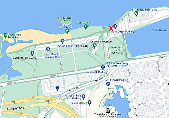 Map to  St. Francis Yacht Club Parking