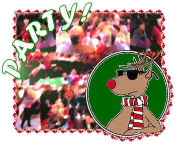 """Party Graphic with """"cool"""" reindeer"""